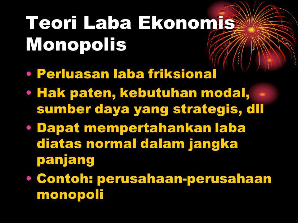 Teori Laba Ekonomis Monopolis Perluasan laba friksional Hak paten, kebutuhan modal, sumber daya yang strategis, dll Dapat mempertahankan laba diatas normal dalam jangka panjang Contoh: perusahaan-perusahaan monopoli
