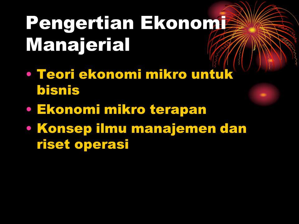 Pengertian Ekonomi Manajerial Teori ekonomi mikro untuk bisnis Ekonomi mikro terapan Konsep ilmu manajemen dan riset operasi