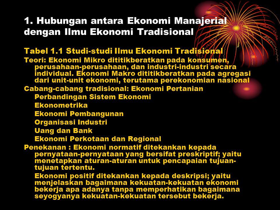 1. Hubungan antara Ekonomi Manajerial dengan Ilmu Ekonomi Tradisional Tabel 1.1 Studi-studi Ilmu Ekonomi Tradisional Teori: Ekonomi Mikro dititikberat
