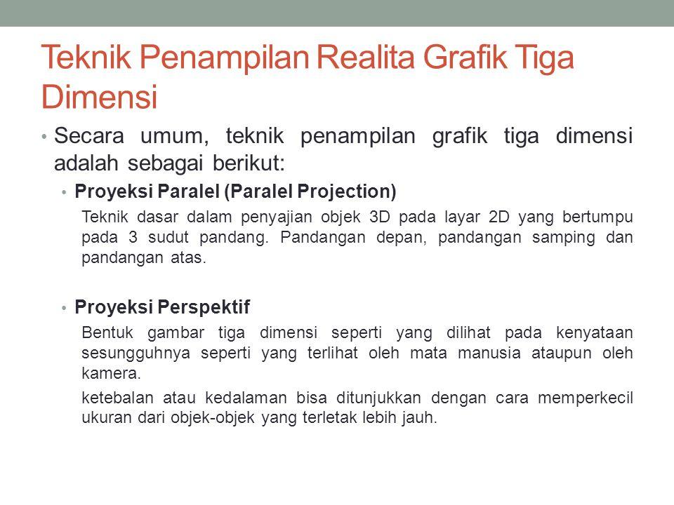 Teknik Penampilan Realita Grafik Tiga Dimensi Secara umum, teknik penampilan grafik tiga dimensi adalah sebagai berikut: Proyeksi Paralel (Paralel Pro