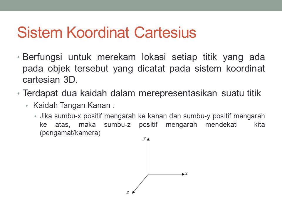 Sistem Koordinat Cartesius Berfungsi untuk merekam lokasi setiap titik yang ada pada objek tersebut yang dicatat pada sistem koordinat cartesian 3D. T