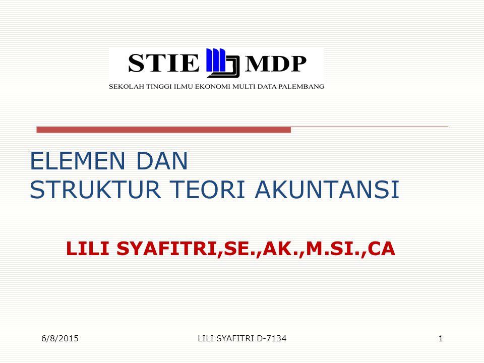 ELEMEN DAN STRUKTUR TEORI AKUNTANSI LILI SYAFITRI,SE.,AK.,M.SI.,CA 6/8/2015LILI SYAFITRI D-71341