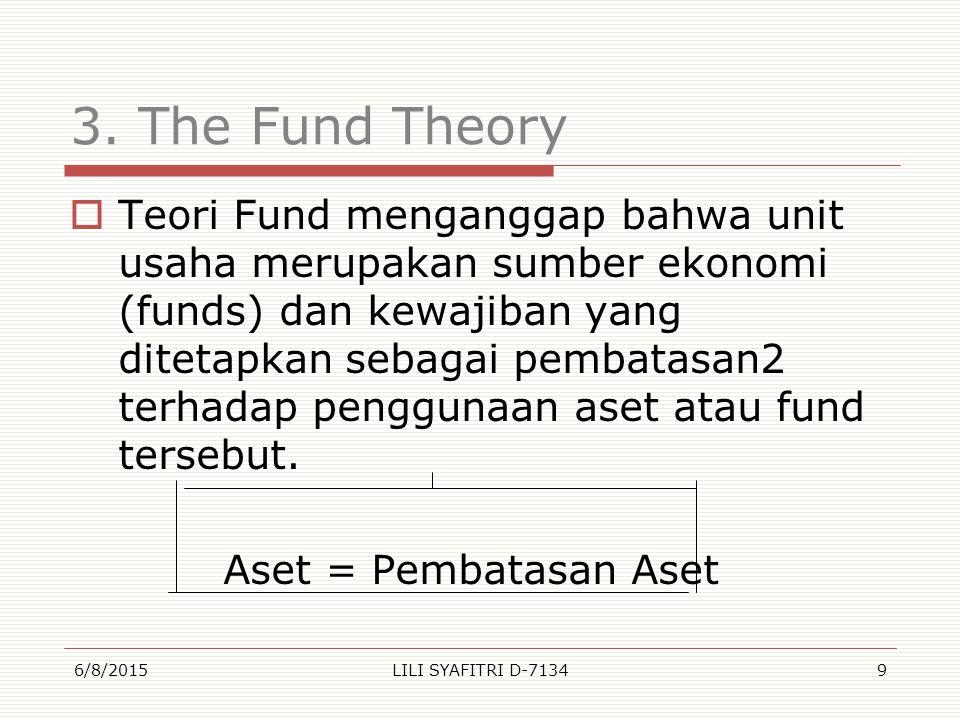 3. The Fund Theory  Teori Fund menganggap bahwa unit usaha merupakan sumber ekonomi (funds) dan kewajiban yang ditetapkan sebagai pembatasan2 terhada