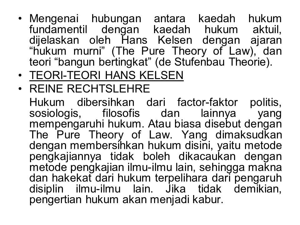 """Mengenai hubungan antara kaedah hukum fundamentil dengan kaedah hukum aktuil, dijelaskan oleh Hans Kelsen dengan ajaran """"hukum murni"""" (The Pure Theory"""