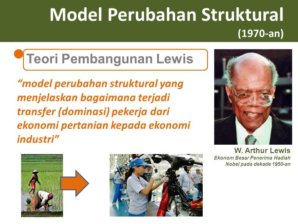 """Model Perubahan Struktural (1970-an) Teori Pembangunan Lewis W. Arthur Lewis Ekonom Besar Penerima Hadiah Nobel pada dekade 1950-an """"model perubahan s"""