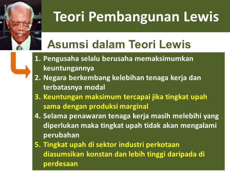 Teori Pembangunan Lewis 1.Pengusaha selalu berusaha memaksimumkan keuntungannya 2.Negara berkembang kelebihan tenaga kerja dan terbatasnya modal 3.Keu