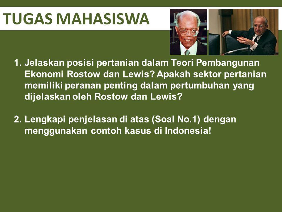 TUGAS MAHASISWA 1.Jelaskan posisi pertanian dalam Teori Pembangunan Ekonomi Rostow dan Lewis? Apakah sektor pertanian memiliki peranan penting dalam p