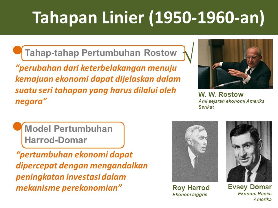 "Tahapan Linier (1950-1960-an) Tahap-tahap Pertumbuhan Rostow Model Pertumbuhan Harrod-Domar W. W. Rostow Ahli sejarah ekonomi Amerika Serikat ""perubah"