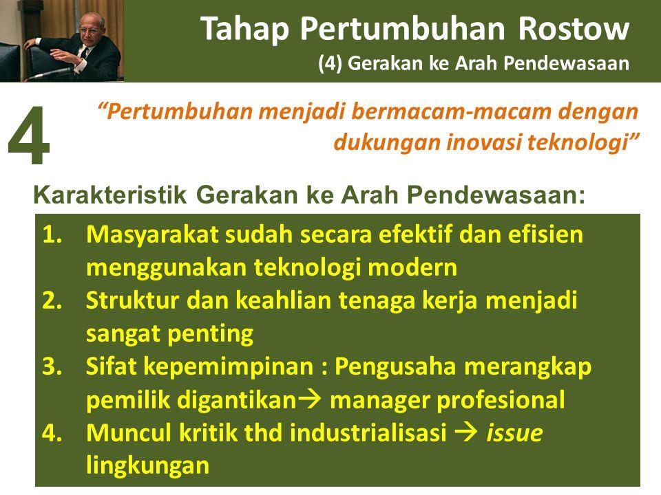 """Tahap Pertumbuhan Rostow (4) Gerakan ke Arah Pendewasaan """"Pertumbuhan menjadi bermacam-macam dengan dukungan inovasi teknologi"""" 1.Masyarakat sudah sec"""