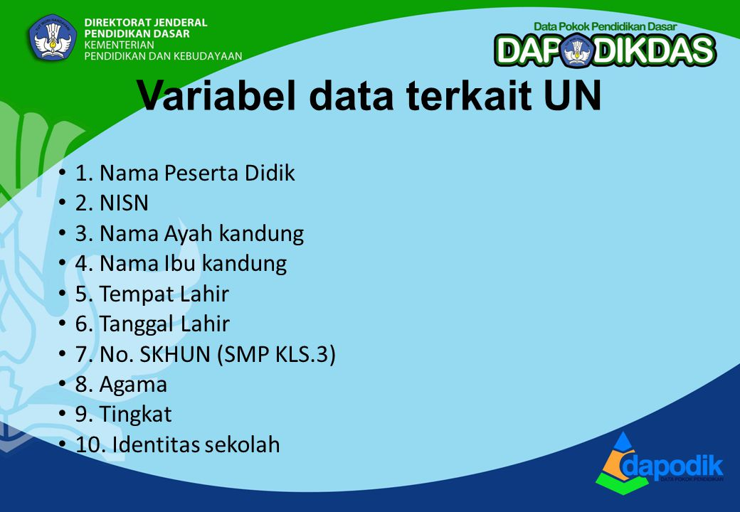 Variabel data terkait UN 1. Nama Peserta Didik 2.