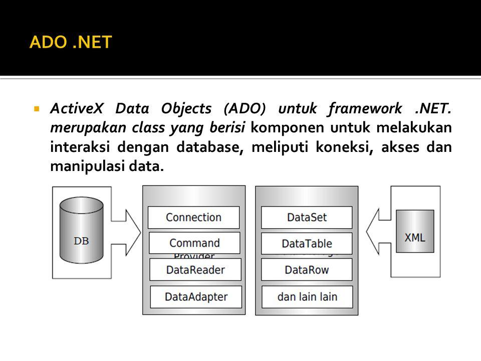  NET Data Provider merupakan serangkaian class yang memungkinkan kode yang teratur untuk berinteraksi dengan sumber data khusus, stored procedure untuk memanggil dan mengubah data.