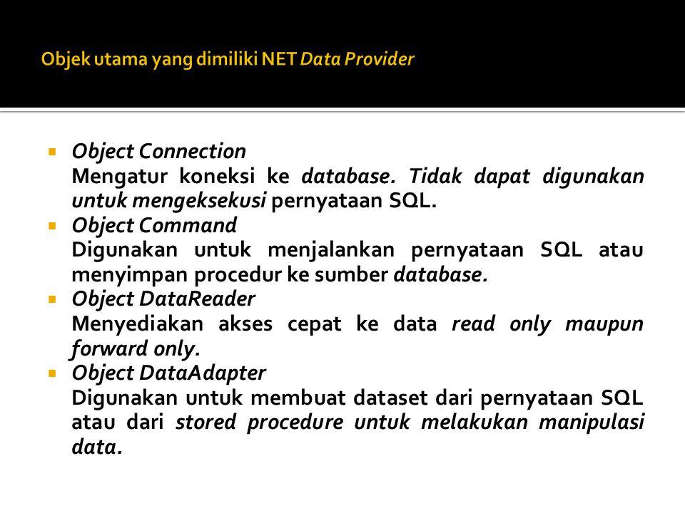  Object DataSet Digunakan untuk membuka datacolumn (kolom) maupun datarow (baris) dari suatu datatable (tabel).