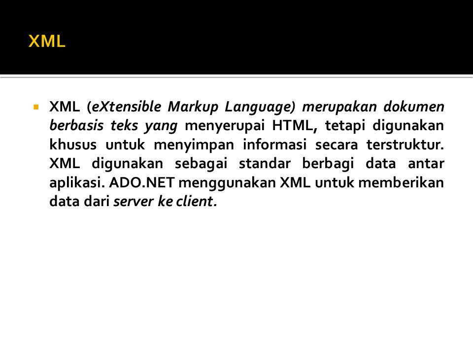  Untuk menggunakan ADO.NET, yang terlebih dahulu harus dilakukan adalah mengaktifkan namespace untuk ADO.NET, yaitu : using System.Data; using System.Data.Oledb; using System.Data.SqlClient;
