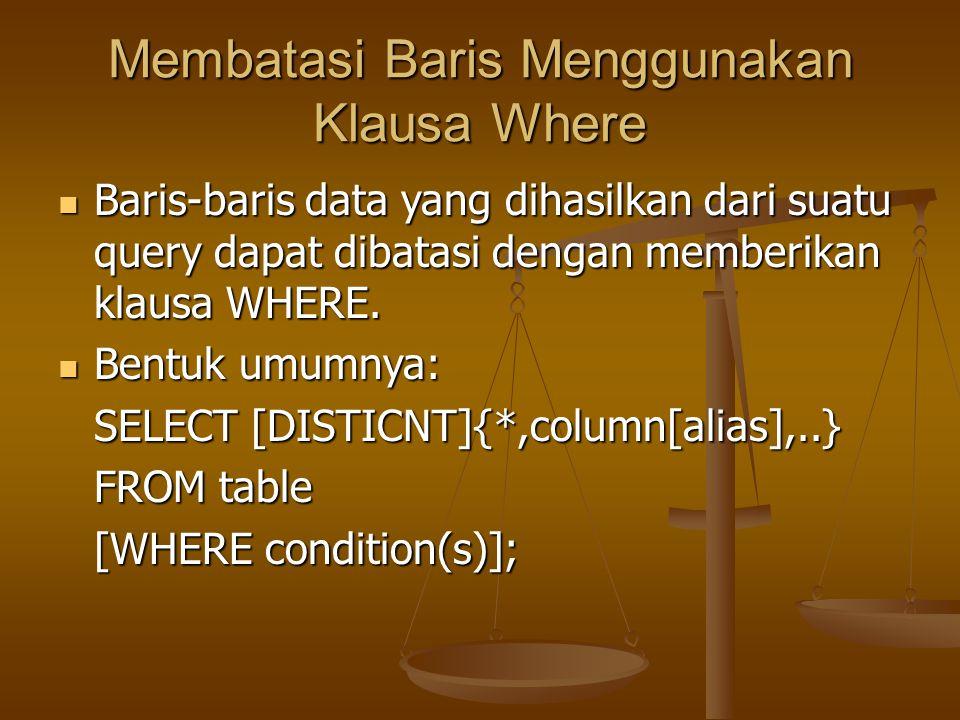 Membatasi Baris Menggunakan Klausa Where Baris-baris data yang dihasilkan dari suatu query dapat dibatasi dengan memberikan klausa WHERE. Baris-baris