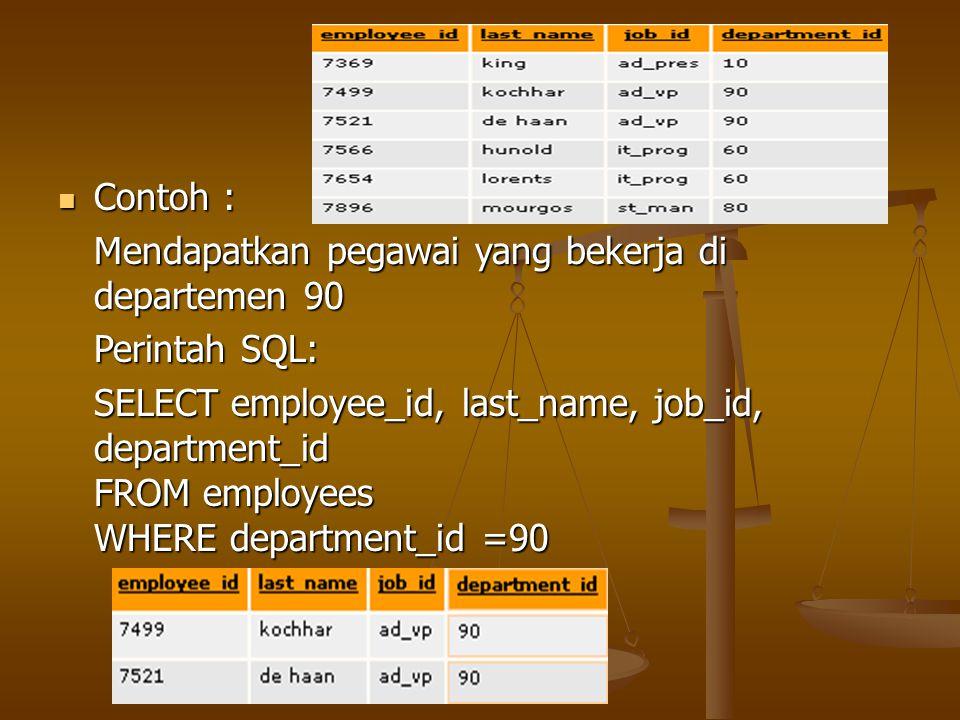 Contoh : Contoh : Mendapatkan pegawai yang bekerja di departemen 90 Perintah SQL: SELECT employee_id, last_name, job_id, department_id FROM employees