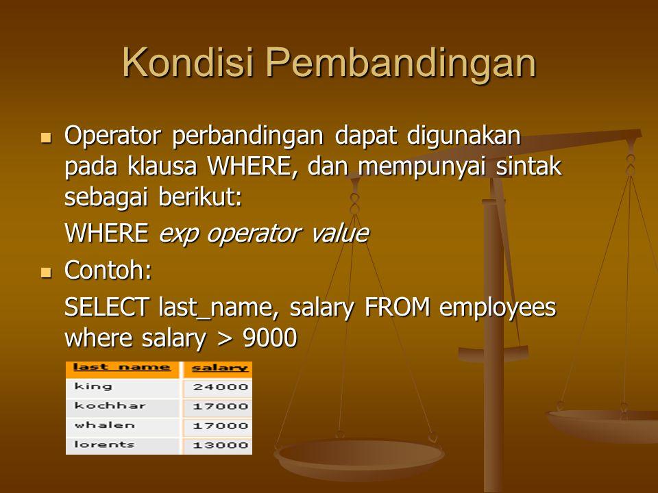 Kondisi Pembandingan Operator perbandingan dapat digunakan pada klausa WHERE, dan mempunyai sintak sebagai berikut: Operator perbandingan dapat diguna