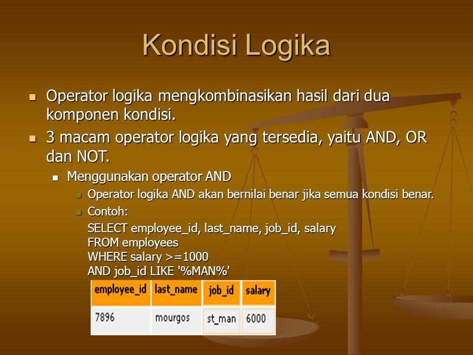 Kondisi Logika Operator logika mengkombinasikan hasil dari dua komponen kondisi. Operator logika mengkombinasikan hasil dari dua komponen kondisi. 3 m
