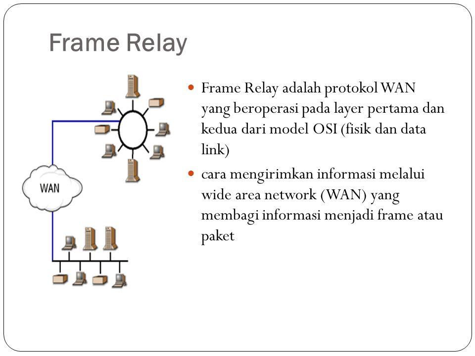 Frame Relay Frame Relay adalah protokol WAN yang beroperasi pada layer pertama dan kedua dari model OSI (fisik dan data link) cara mengirimkan informa
