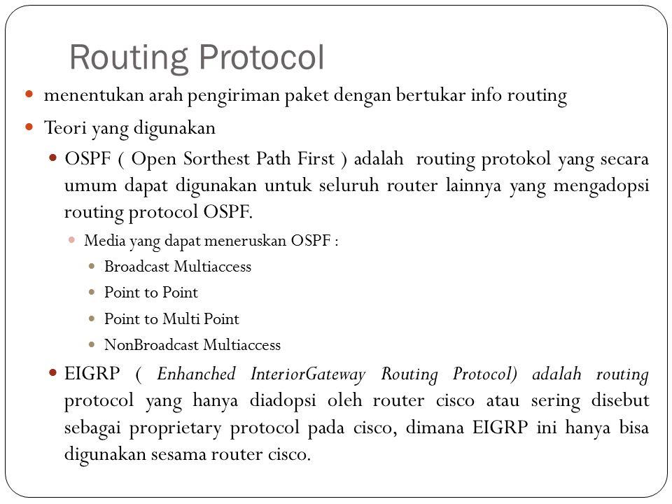 Routing Protocol menentukan arah pengiriman paket dengan bertukar info routing Teori yang digunakan OSPF ( Open Sorthest Path First ) adalah routing p