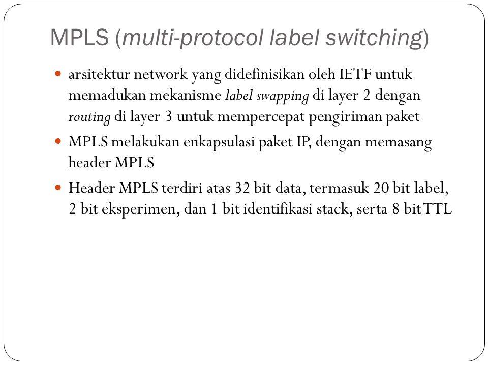 MPLS (multi-protocol label switching) arsitektur network yang didefinisikan oleh IETF untuk memadukan mekanisme label swapping di layer 2 dengan routi