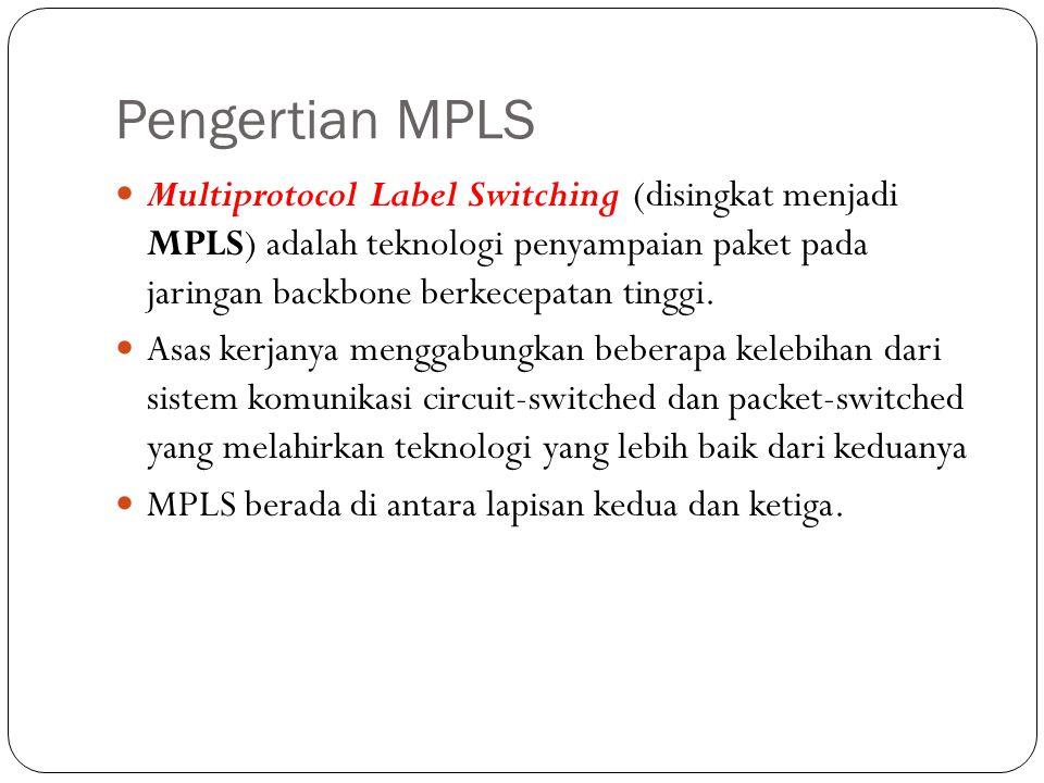 Pengertian MPLS Multiprotocol Label Switching (disingkat menjadi MPLS) adalah teknologi penyampaian paket pada jaringan backbone berkecepatan tinggi.