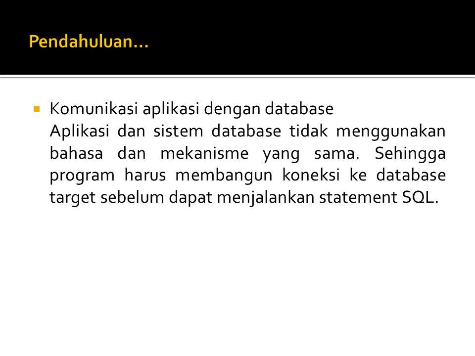  Komunikasi aplikasi dengan database Aplikasi dan sistem database tidak menggunakan bahasa dan mekanisme yang sama.