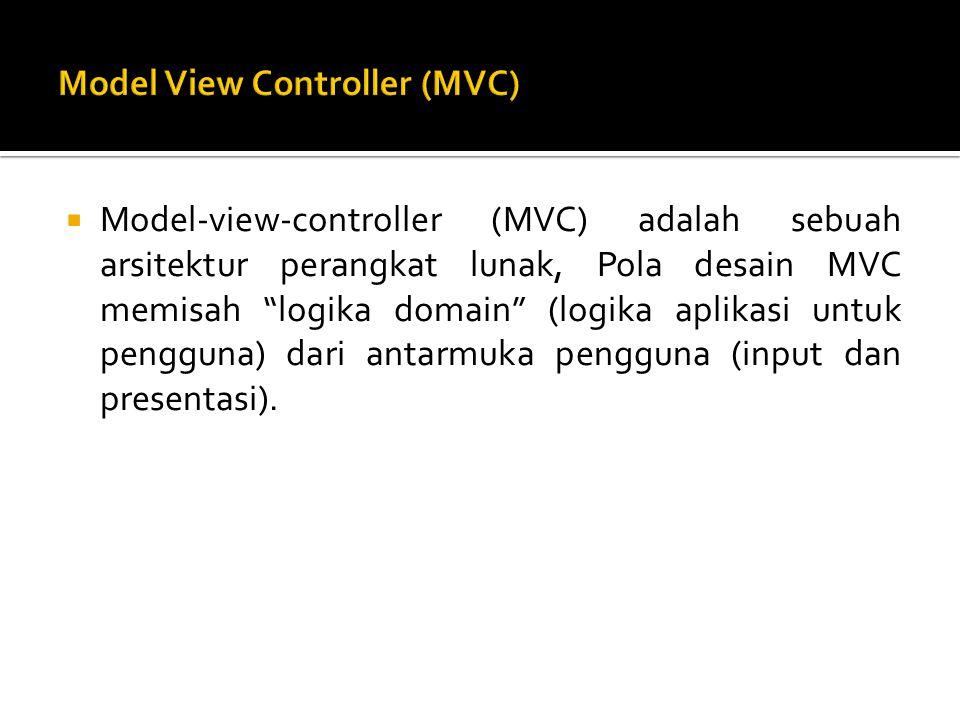  Model-view-controller (MVC) adalah sebuah arsitektur perangkat lunak, Pola desain MVC memisah logika domain (logika aplikasi untuk pengguna) dari antarmuka pengguna (input dan presentasi).
