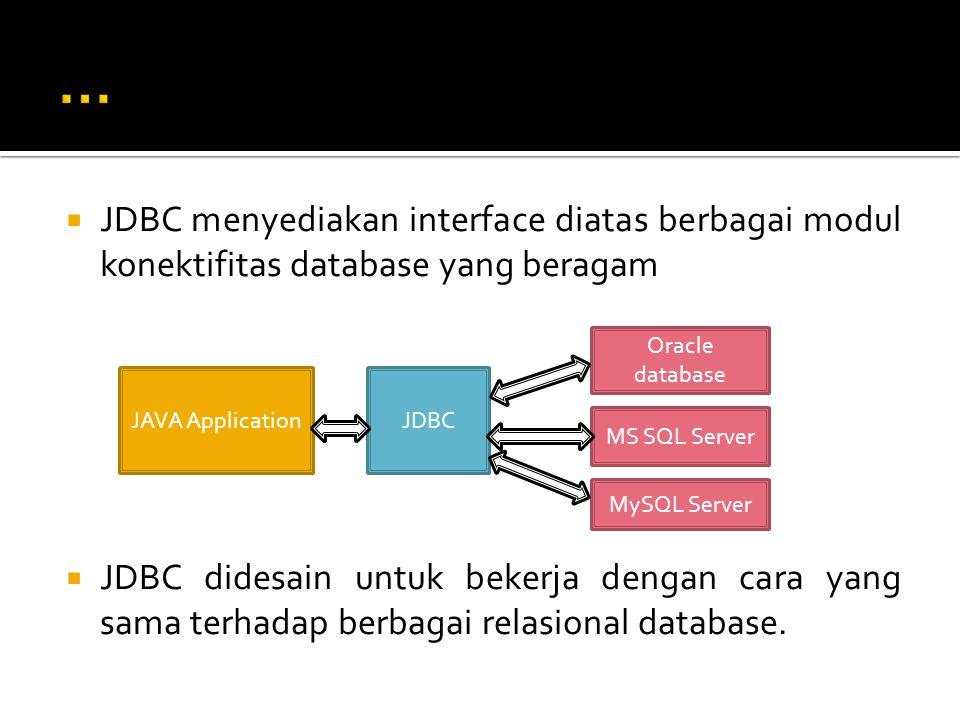  JDBC menyediakan interface diatas berbagai modul konektifitas database yang beragam  JDBC didesain untuk bekerja dengan cara yang sama terhadap berbagai relasional database.