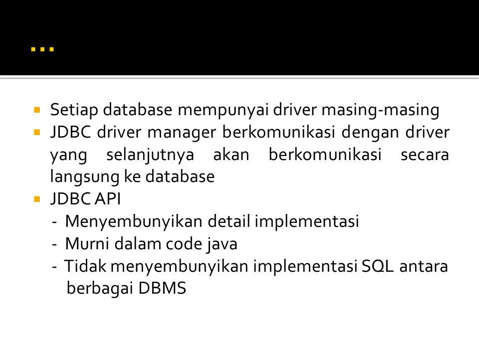  Setiap database mempunyai driver masing-masing  JDBC driver manager berkomunikasi dengan driver yang selanjutnya akan berkomunikasi secara langsung ke database  JDBC API - Menyembunyikan detail implementasi - Murni dalam code java - Tidak menyembunyikan implementasi SQL antara berbagai DBMS