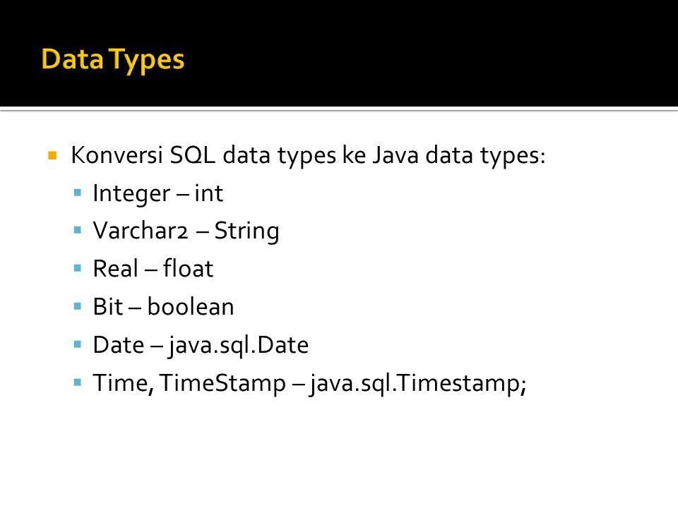  Gunakan JDBC driver yang tepat:  Oracle: /usr/local/oracle/jdbc/lib/ojdbc14.jar on eniac or the Oracle web site.