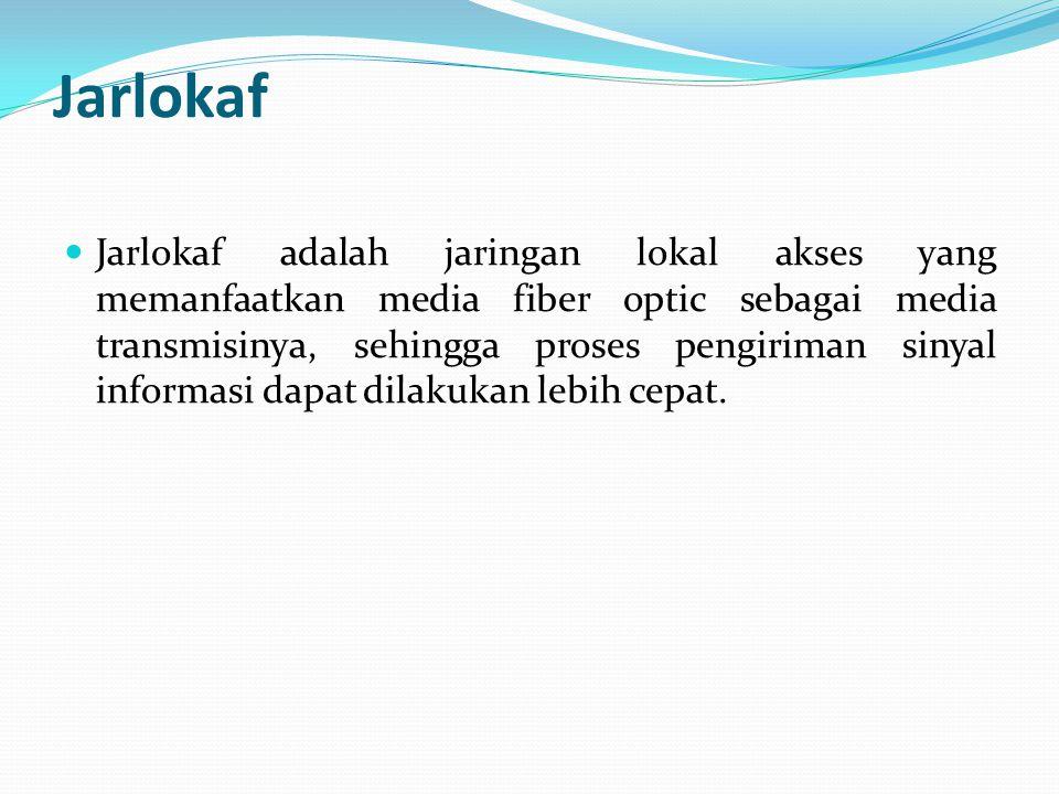 Jarlokaf Jarlokaf adalah jaringan lokal akses yang memanfaatkan media fiber optic sebagai media transmisinya, sehingga proses pengiriman sinyal inform