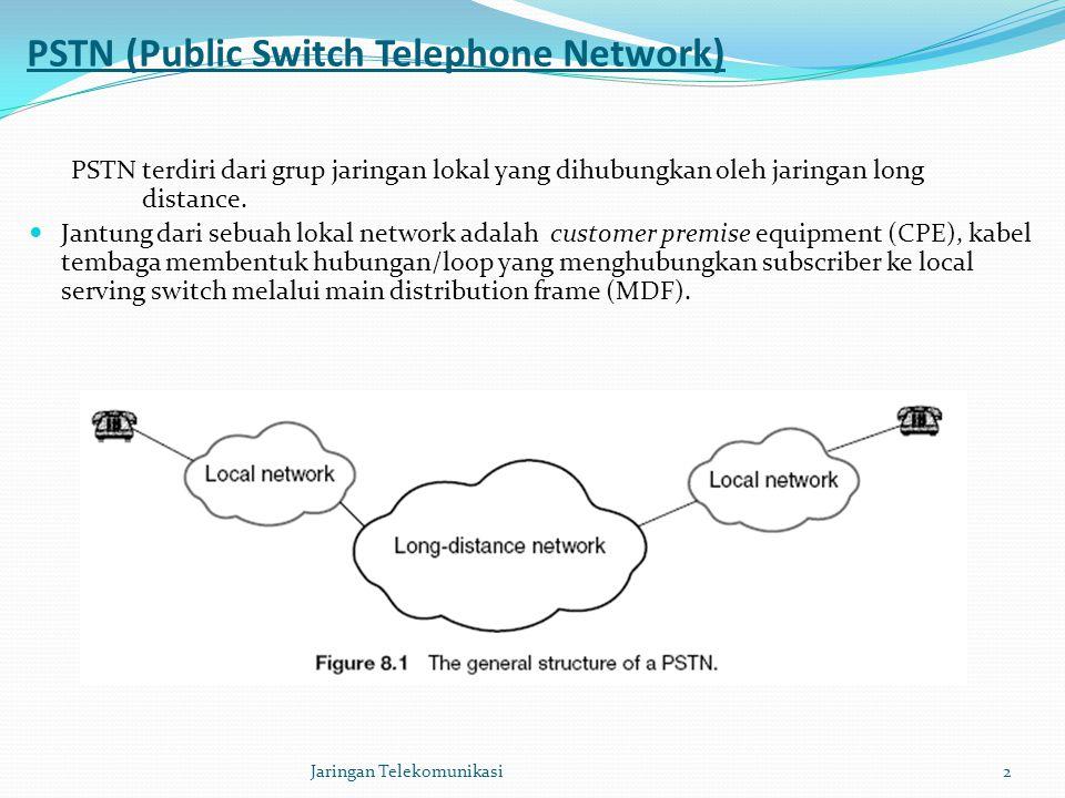 Karakteristik utama PSTN: Akses analog dengan frekuensi 300-3400 Hz Bersifat circuit-switched Memiliki bandwith 64 kbps Bersifat fix sehingga mobilitasnya sangat terbatas Dapat diintegrasikan dengan jaringan lain, seperti ISDN, PLMN, PDN