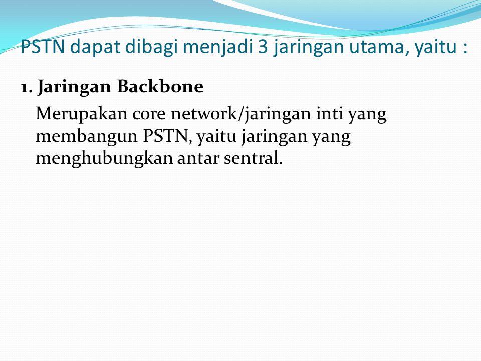PSTN dapat dibagi menjadi 3 jaringan utama, yaitu : 1. Jaringan Backbone Merupakan core network/jaringan inti yang membangun PSTN, yaitu jaringan yang