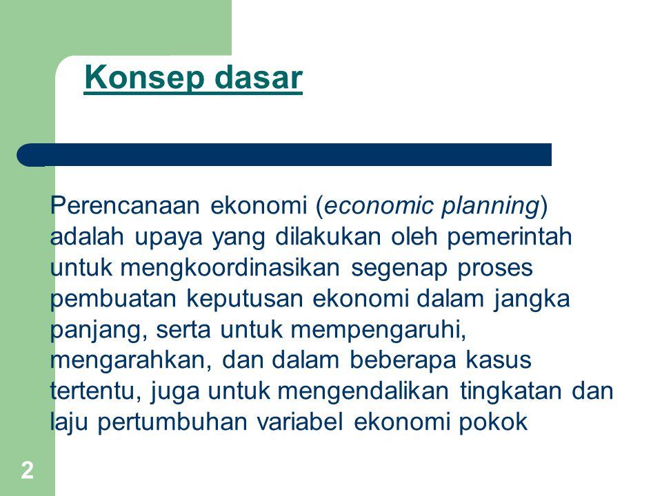 3 Rencana ekonomi (economic plan) Adalah serangkaian target ekonomi kuantitatif yang harus dicapal dalam kurun waktu tertentu.