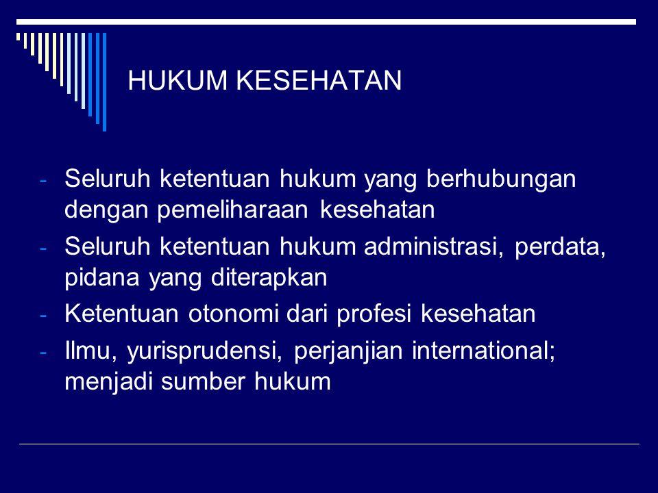 HUKUM KESEHATAN - Seluruh ketentuan hukum yang berhubungan dengan pemeliharaan kesehatan - Seluruh ketentuan hukum administrasi, perdata, pidana yang