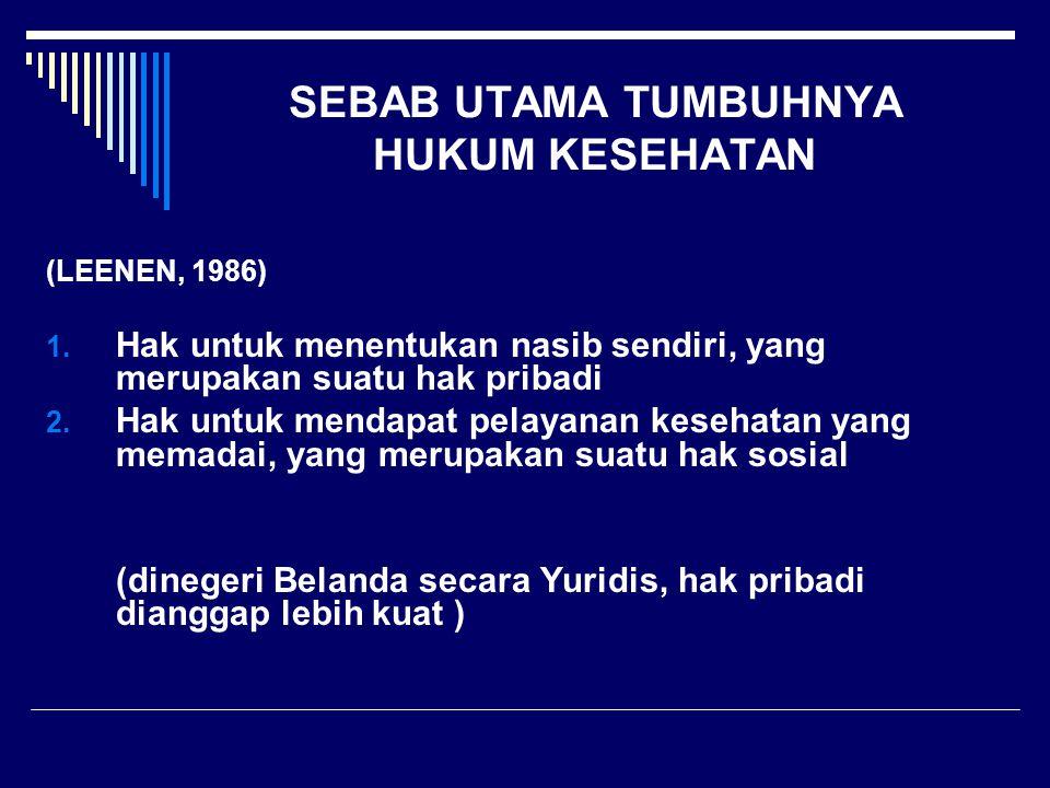 SEBAB UTAMA TUMBUHNYA HUKUM KESEHATAN (LEENEN, 1986) 1. Hak untuk menentukan nasib sendiri, yang merupakan suatu hak pribadi 2. Hak untuk mendapat pel