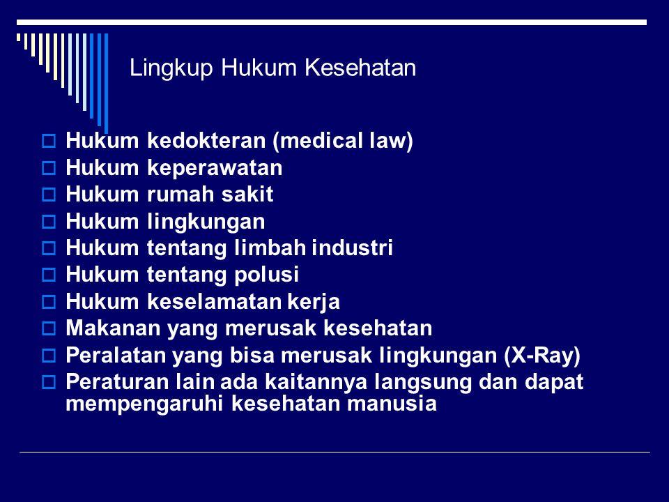 Lingkup Hukum Kesehatan  Hukum kedokteran (medical law)  Hukum keperawatan  Hukum rumah sakit  Hukum lingkungan  Hukum tentang limbah industri 