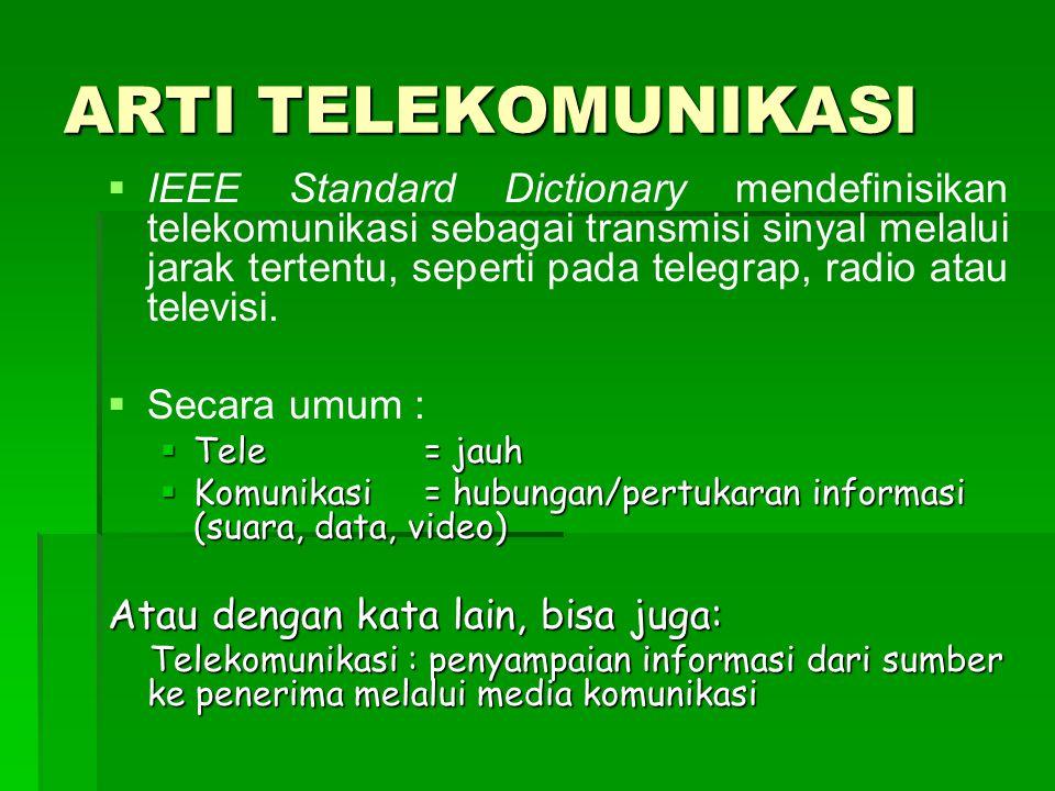 ARTI TELEKOMUNIKASI   IEEE Standard Dictionary mendefinisikan telekomunikasi sebagai transmisi sinyal melalui jarak tertentu, seperti pada telegrap, radio atau televisi.