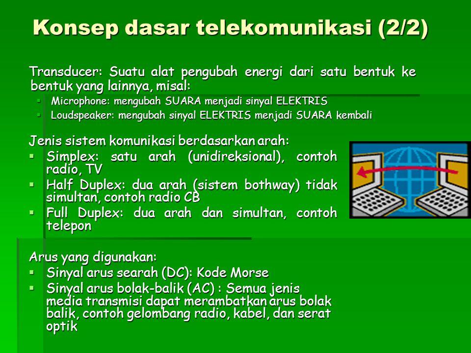 Transducer: Suatu alat pengubah energi dari satu bentuk ke bentuk yang lainnya, misal: Transducer: Suatu alat pengubah energi dari satu bentuk ke bentuk yang lainnya, misal:  Microphone: mengubah SUARA menjadi sinyal ELEKTRIS  Loudspeaker: mengubah sinyal ELEKTRIS menjadi SUARA kembali Konsep dasar telekomunikasi (2/2) Jenis sistem komunikasi berdasarkan arah:  Simplex: satu arah (unidireksional), contoh radio, TV  Half Duplex: dua arah (sistem bothway) tidak simultan, contoh radio CB  Full Duplex: dua arah dan simultan, contoh telepon Arus yang digunakan:  Sinyal arus searah (DC): Kode Morse  Sinyal arus bolak-balik (AC) : Semua jenis media transmisi dapat merambatkan arus bolak balik, contoh gelombang radio, kabel, dan serat optik