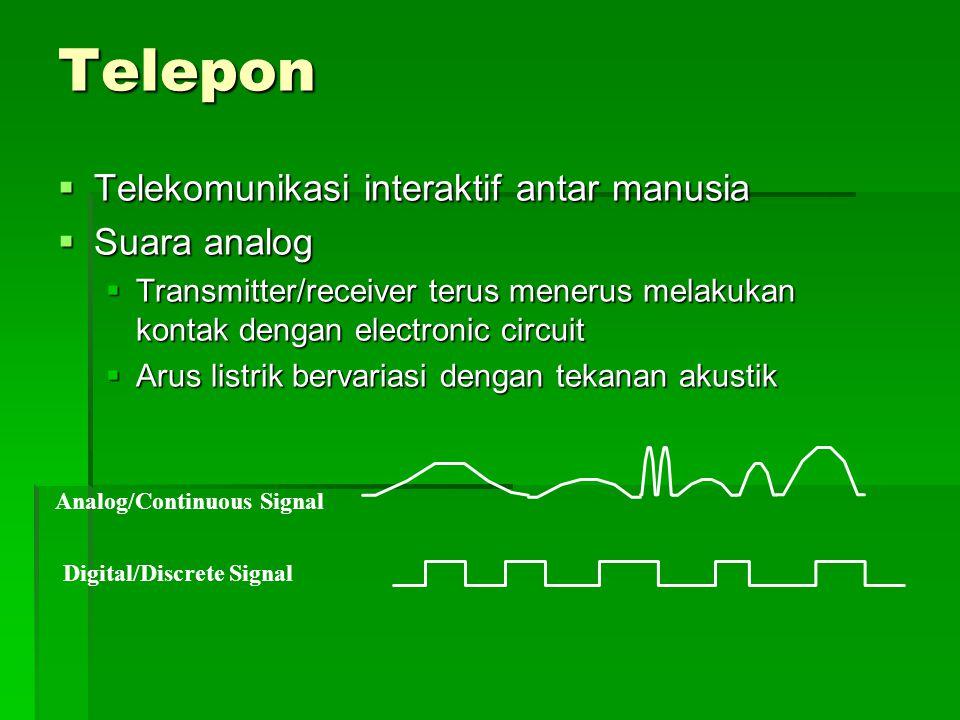 Telepon  Telekomunikasi interaktif antar manusia  Suara analog  Transmitter/receiver terus menerus melakukan kontak dengan electronic circuit  Arus listrik bervariasi dengan tekanan akustik Analog/Continuous Signal Digital/Discrete Signal