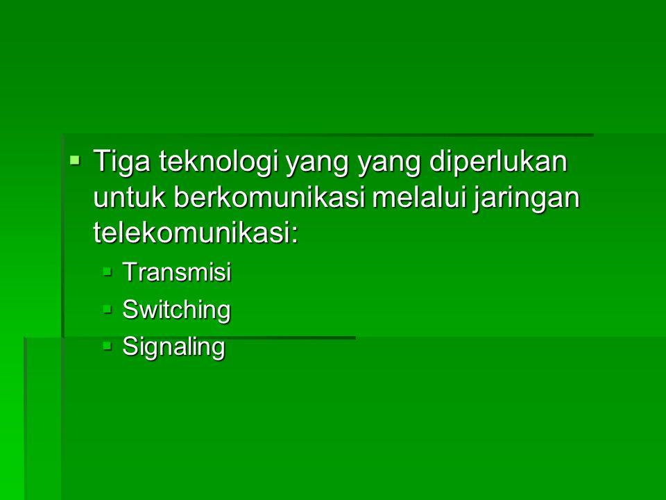  Tiga teknologi yang yang diperlukan untuk berkomunikasi melalui jaringan telekomunikasi:  Transmisi  Switching  Signaling