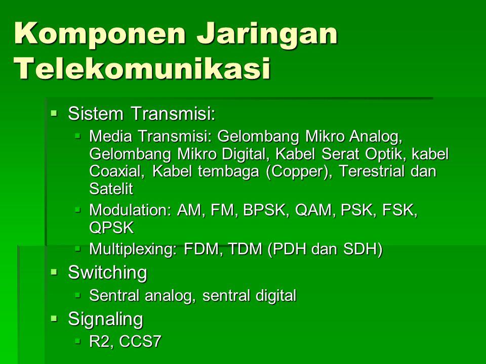 Komponen Jaringan Telekomunikasi  Sistem Transmisi:  Media Transmisi: Gelombang Mikro Analog, Gelombang Mikro Digital, Kabel Serat Optik, kabel Coaxial, Kabel tembaga (Copper), Terestrial dan Satelit  Modulation: AM, FM, BPSK, QAM, PSK, FSK, QPSK  Multiplexing: FDM, TDM (PDH dan SDH)  Switching  Sentral analog, sentral digital  Signaling  R2, CCS7