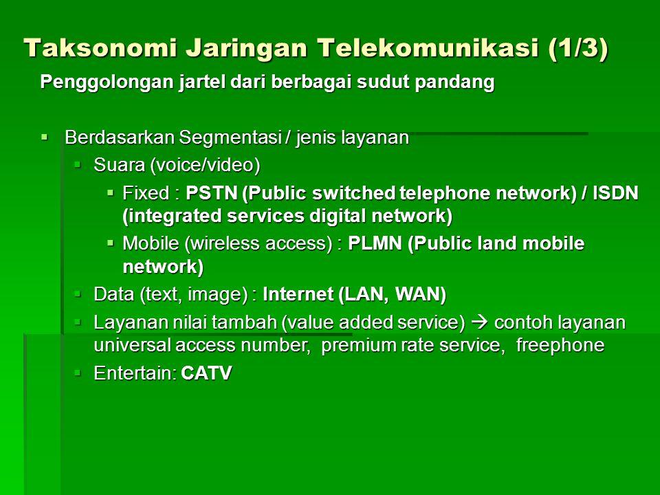 Taksonomi Jaringan Telekomunikasi (1/3) Penggolongan jartel dari berbagai sudut pandang  Berdasarkan Segmentasi / jenis layanan  Suara (voice/video)  Fixed : PSTN (Public switched telephone network) / ISDN (integrated services digital network)  Mobile (wireless access) : PLMN (Public land mobile network)  Data (text, image) : Internet (LAN, WAN)  Layanan nilai tambah (value added service)  contoh layanan universal access number, premium rate service, freephone  Entertain: CATV