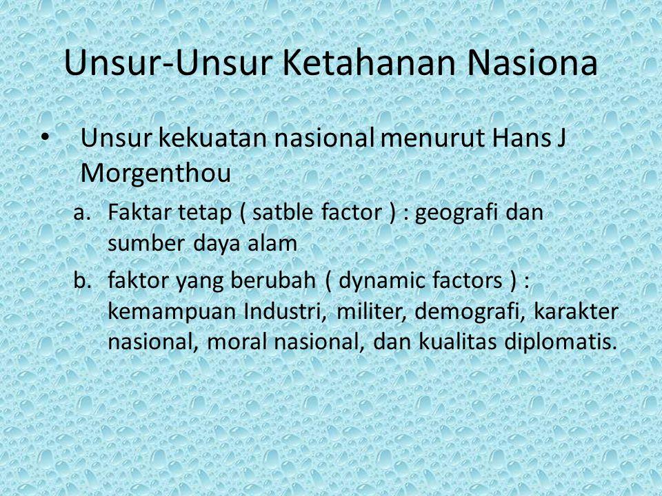Unsur ketahanan nasional model Indonesia : a.Tri gatra adalah aspek alamiah ( tangible): penduduk, sumberdaya alam, dan wilayah b.Pancagatra adalah aspek sosial ( intangible) yang terdiri dari ideology, politik, ekonomi, sosila buadaya dan pertahanan keamanan.