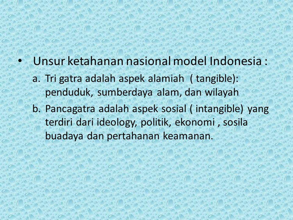 Unsur ketahanan nasional model Indonesia : a.Tri gatra adalah aspek alamiah ( tangible): penduduk, sumberdaya alam, dan wilayah b.Pancagatra adalah as