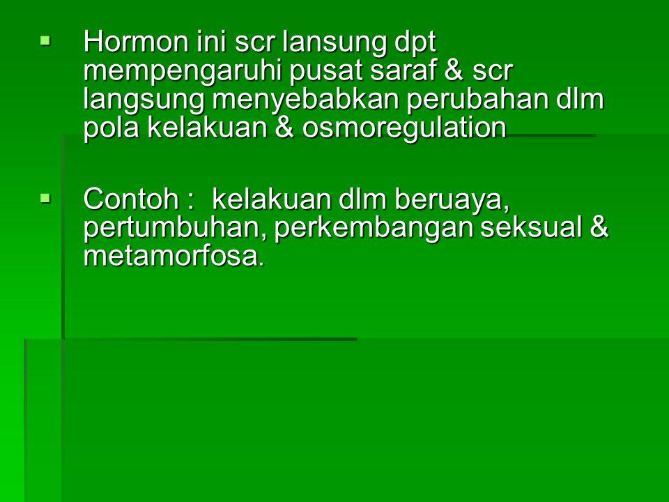  Hormon ini scr lansung dpt mempengaruhi pusat saraf & scr langsung menyebabkan perubahan dlm pola kelakuan & osmoregulation  Contoh : kelakuan dlm