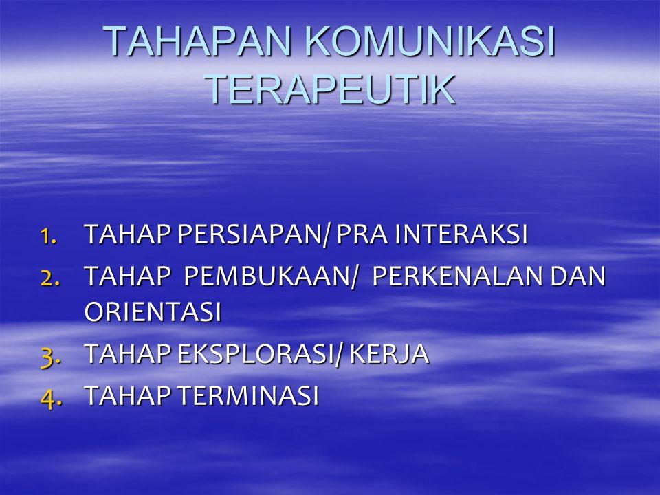 TAHAPAN KOMUNIKASI TERAPEUTIK 1.TAHAP PERSIAPAN/ PRA INTERAKSI 2.TAHAP PEMBUKAAN/ PERKENALAN DAN ORIENTASI 3.TAHAP EKSPLORASI/ KERJA 4.TAHAP TERMINASI