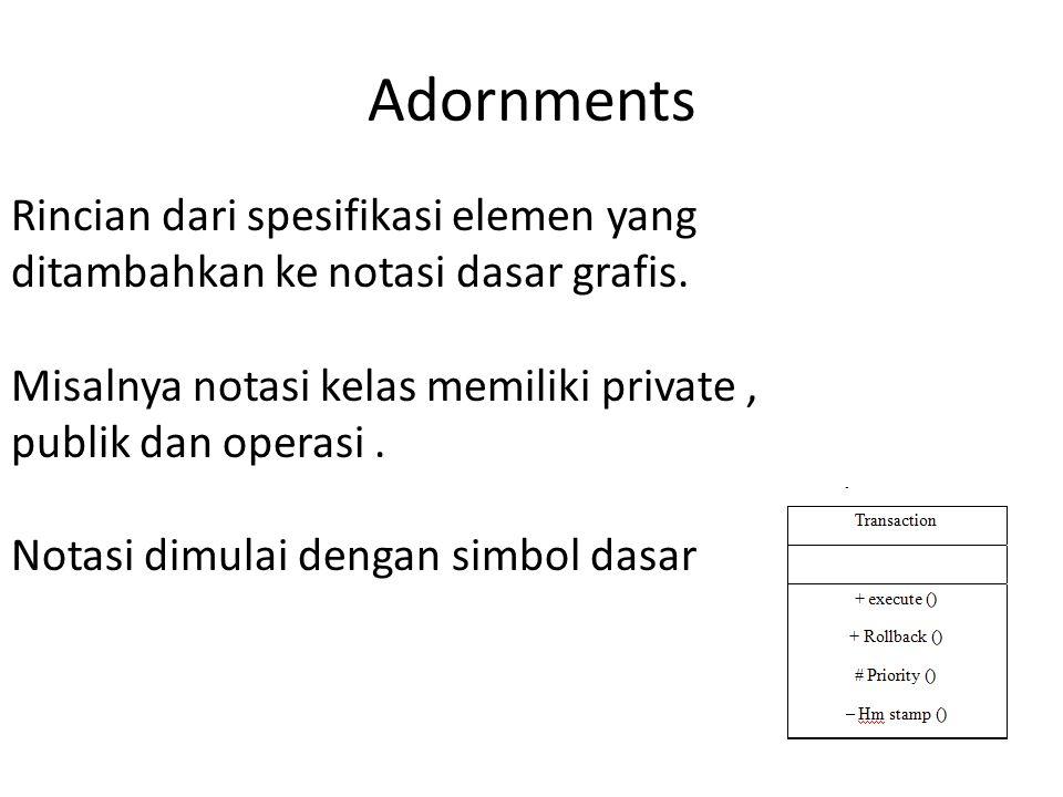 Adornments Rincian dari spesifikasi elemen yang ditambahkan ke notasi dasar grafis. Misalnya notasi kelas memiliki private, publik dan operasi. Notasi