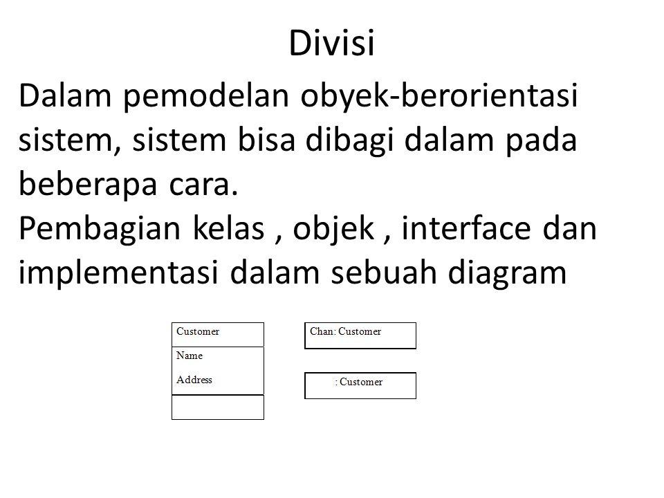 Divisi Dalam pemodelan obyek-berorientasi sistem, sistem bisa dibagi dalam pada beberapa cara. Pembagian kelas, objek, interface dan implementasi dala