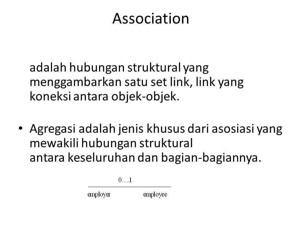 Association adalah hubungan struktural yang menggambarkan satu set link, link yang koneksi antara objek-objek. Agregasi adalah jenis khusus dari asosi